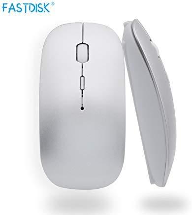 Schlanke wiederaufladbare Bluetooth-Maus für Notebook, PC, Laptop, Computer, Windows/Android Tablet, iMac Macbook Air/Pro (nicht für iPad und iPhone) - Silbergrau Macbook Pro Bluetooth