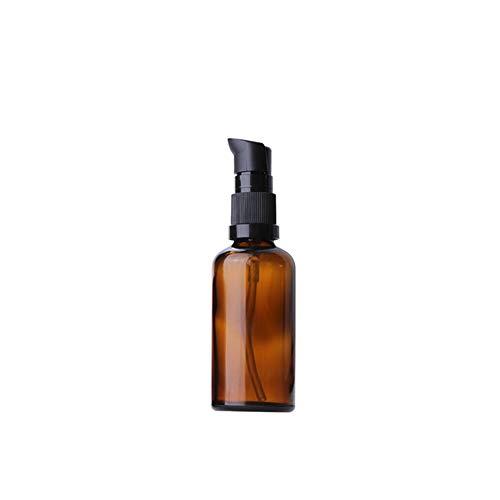 Ssowun Glasflaschen Glaslotion Leere 5 Stück,50ml Nachfüllbare Airless Vakuumpumpe Reise Flaschen Creme Lotion Flasche Toilettenartikel Flüssigkeit Container Kosmetik Make-up -