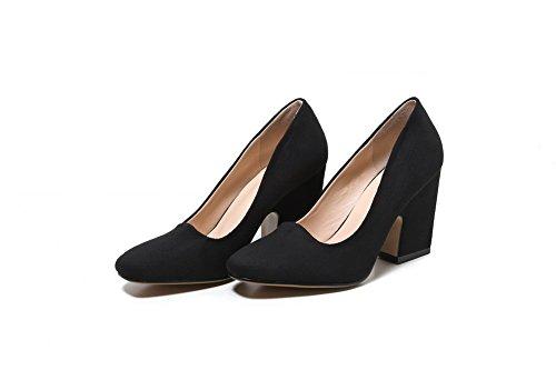 VogueZone009 Femme Tire Suédé Carré à Talon Haut Couleur Unie Chaussures Légeres Noir