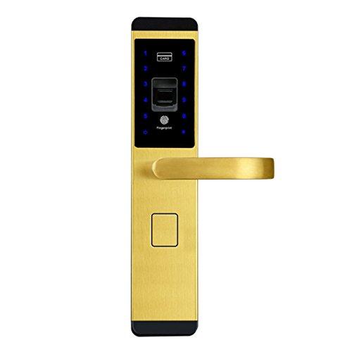 Sicherheitstür Zu Hause Fingerabdruck Sperre Elektronische Kreditkarte Fingerabdruck Passwort Sperre Smart Lock,ChampagneGold-OneSize (Tasten Sperren)