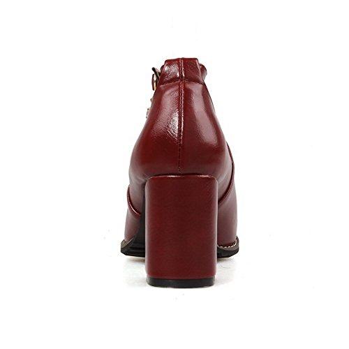 AgooLar Femme Rond à Talon Correct Boucle Couleur Unie Chaussures Légeres Rouge Vineux