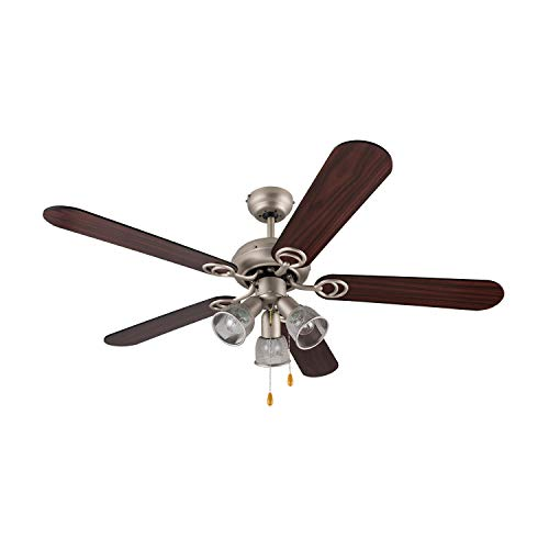 Klarstein Charleston Deckenventilator • integrierte Deckenleuchte • 5 Rotorblätter • 122 cm Durchmesser • zwei Drehrichtungen • Walnussholzfurnier • niedriger Verbraucht • Edelstahl • dunkelbraun - Licht Mit Deckenventilator