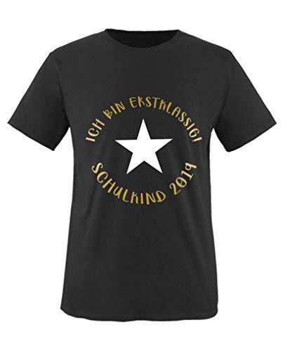 Comedy Shirts - Ich bin erstklassig! Schulkind 2019 - Jungen T-Shirt - Schwarz/Gold-Weiss Gr. 134/146
