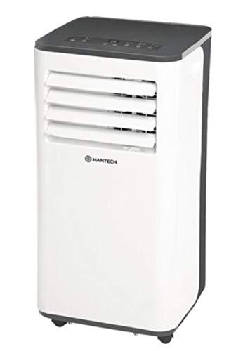 HANTECH lokales mobiles Klimagerät mit max Kühlleistung 2,6 KW - 9000 BTU - Klima Klimaanlage Wohnung Büro - Geeignet für Räume bis 62,4 m³ inkl. Abluftschlauch und Fernbedienung