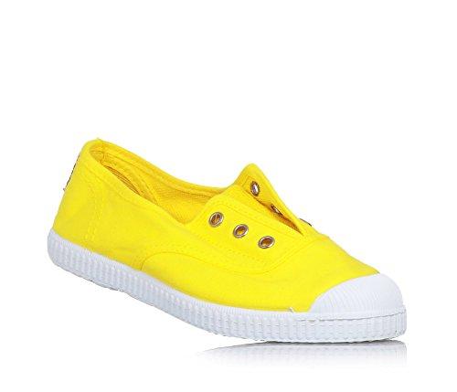 CIENTA - Chaussure jaune en tissu, made in Spain, pièce élastique sur la partie frontale, œillets argent, garçon ou fille
