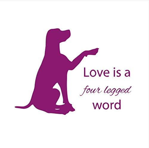 Wuyyii 57X77 Cm Liebe Ist Wohnkultur Zitat Wandaufkleber Hund Legen Sie Ihre Hand Silhouette Kunst AufkleberC (Für Halloween Zitate Liebe Ihre)