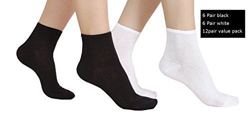 Ultra Dünne Baumwolle (6oder 12Paar Damen Ultra Dünn Baumwolle Sommer Knöchel Crew Socken, Weiß-Schwarz)