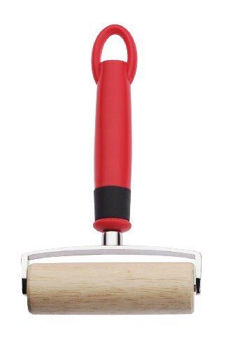 Nudelholz - Pizzaholz - Teigroller - Holz - mit weichem Kunststoff-Griff