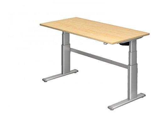 Höhenverstellbarer Schreibtisch DR-Office - 160 x 80 cm - Schreibtisch in 7 Farben - Stahlgestell silber - elektrisch verstellbar bis maximal 130 cm, Farbe:Ahorn