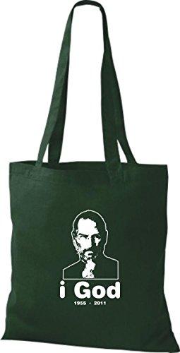 ShirtInStyle Stoffbeutel Steve Jobs in Memory of Baumwolltasche Beutel, diverse Farbe bottle green