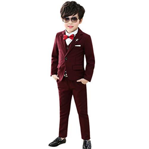 DAZISEN Jungen Anzug Slim Fit - Kinderanzug Jungen Anzug mit Weste Gentleman Hochzeit Taufe Festlich Outfit,Rot-Verdicken 3St Set,EU 120=Tag 130