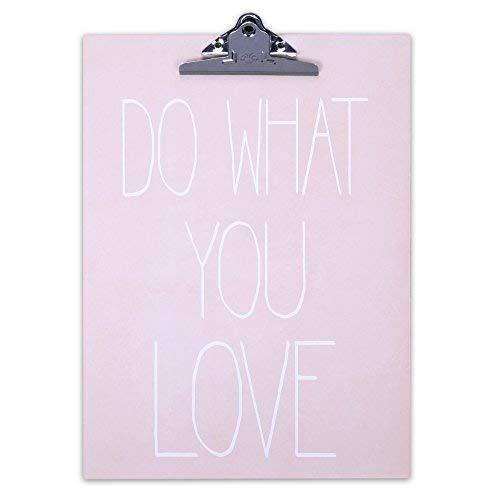 Schönes Klemmbrett / Schreibbrett aus MDF mit Sprüchen (rosa 'Do what you love')