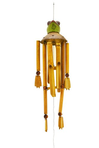 Premium 80cm Windspiel Holz Feng Shui Klangspiel Geschnitzt Kokosnuss Frosch W9