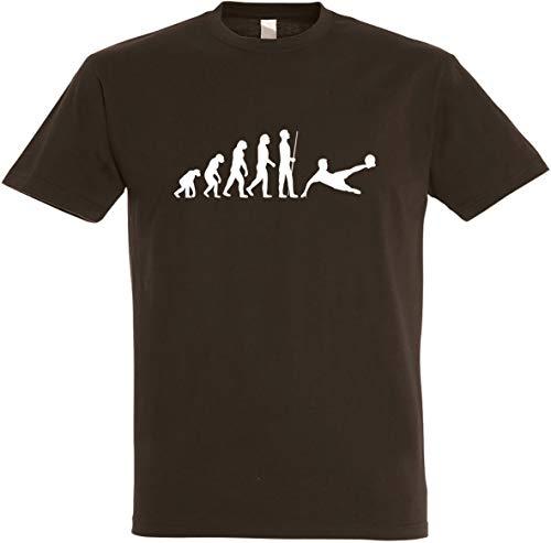 Herren T-Shirt Fußball Evolution S bis 5XL (S, Braun)