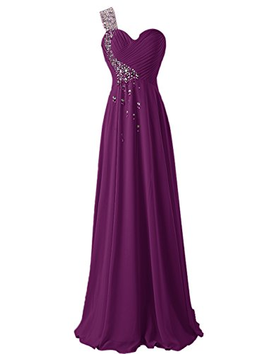 Dresstells, Robe de soirée de mariage/cérémonie/demoiselle d'honneur épaule asymétrique col en coeur pailletée Rouge