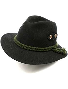 Bavariashop Eleganter Trachtenhut in schwarz aus, hochwertiger Hut aus 100 % Wolle, Wetterfest, Outdoor und Freizeit