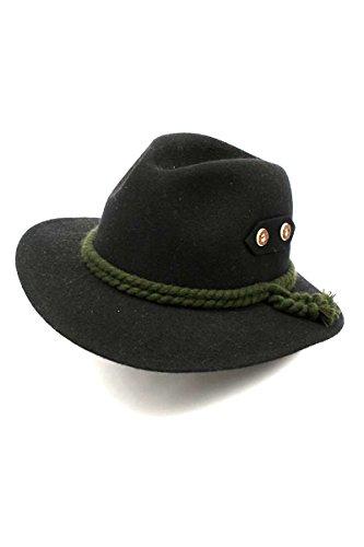 Eleganter Trachtenhut in schwarz aus, Hochwertiger Hut aus 100% Wolle Größe 59