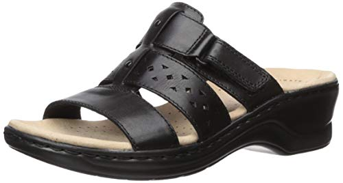 Clarks Women's Lexi Juno Sandal, Black Leather, 90 M US