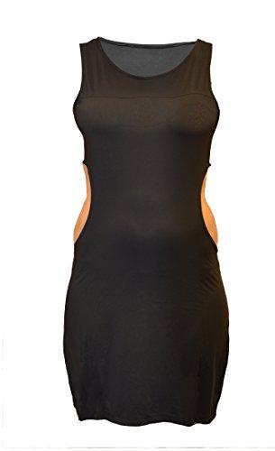 xties 60er Schwarzes Kleid - Abendkleid-Kostüm-Ausstattungs-Hut - Größe 12-14 - LFD1008M (Austin Powers Kostüm Frauen)
