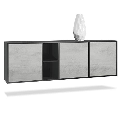 Vladon Sideboard Kommode Cuba, Korpus in Schwarz Matt/Fronten in Beton Oxid Optik