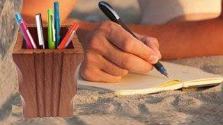 Bois porte-stylet, travail Cutter, stylo Holder, porte-crayon, porte-balais