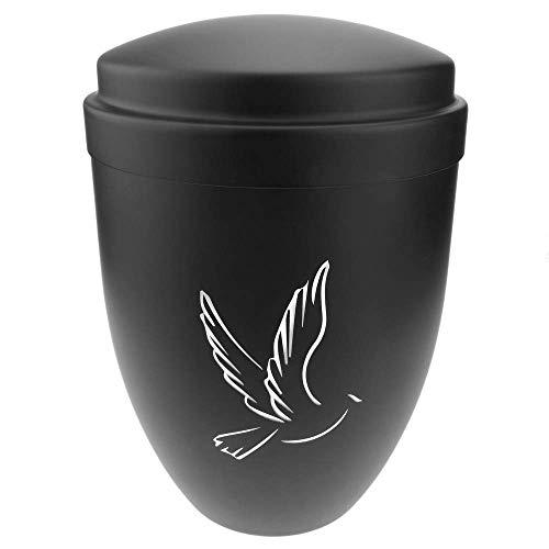 PrimeMatik - Urna para Cenizas crematorias Recuerdo funerario Vasija de Metal Negra 160x225 mm
