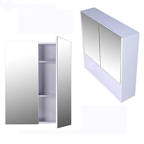 HOMCOM® Bademöbel Spiegelschrank Badeschrank Hängeschrank Badezimmer Spiegel Schrank