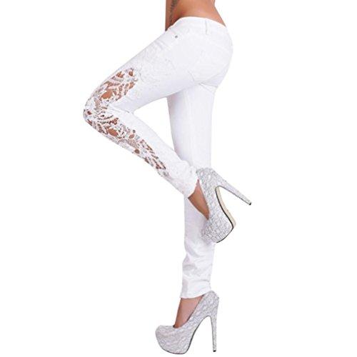 VENMO Mode Frauen Lange Hosen aushöhlen Casual Flower Lace Insert Niedrige Taille Jeans Leggings Tights Sportleggings Casual Blumen Spitze Jeans Skinny Aushöhlen Lange Hüfthoch Hosen (White, XL)