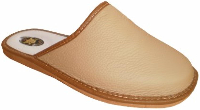 Marited Herren Natürlich Leder Beige Pantoffeln Hausschuhe