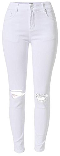 EKU Women Casual Hole Solid Color Zipper Stretch Jean Pencil Pant White XXXL