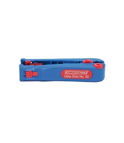WEICON Data-Strip No.30 | Abisolierwerkzeug für Datenkabel und Netzwerkkabel 4,0 - 10,0 mm Ø | Abisolieren von Leitern und Litzen | Mikroabisolierer 0,05 - 0,5 mm² (0,2-0,8 mmØ) (30-20 AWG) | TÜV | blau / rot | 100{0b82ef09df7af92efe6b0950eb29710880dc315c4ee665f6f781ef3a9f4ddfb1} Made in Germany