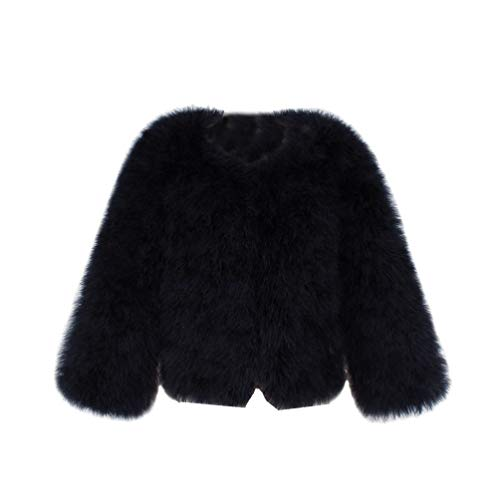 Yuandian donna autunno e inverno casuale colore solido corto artificiale faux pellicce ecologiche giubbotto caldo morbido elegante pelliccia corta giacca cappotto nero m