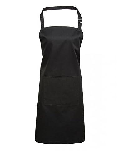 Premier Workwear Adult Unisex PR154 Bib Apron With Pocket - Various Colours Available (Black)
