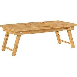 SONGMICS Table de lit pliable, Petite table en bambou pour ordinateur portable, pour Gaucher et Droitier, Plateau ajustable 5 positions, 89 x 35 x 29 cm (L x l x H), Trous d'aération, Petit tiroir LLD004