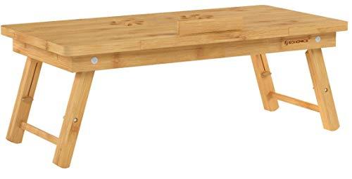 SONGMICS Table de lit pliable, Petite table en bambou pour ordinateur portable, pour Gaucher et...