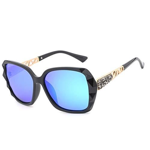 HUOYAN Sonnenbrille Frauen Polarisierte Damen Retro Sonnenbrille Vintage Übergroße Sonnenbrille UV400 (Lenses Color : Black Blue)