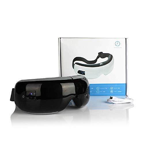 Augen Massagegerät Gasichtsmaske Aufladbare Massagebrille mit Vibration, Luftverdichtung, Wärmefunktion und Musik,Black