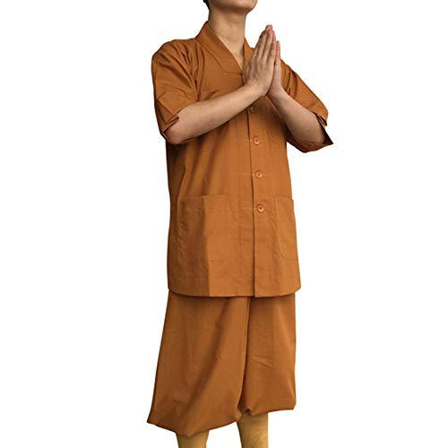 G-like Buddisten Mönche Laien Kostüm - Chinesische Traditionelle Buddhistische Taoistische Kleidung Kampfkunst Shaolin Kung Fu Wushu Kurzärmelige Robe Stehkragen Uniform Sommer Anzug (Gelb, XL)