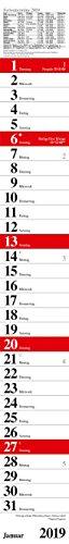 Streifenplaner Praktika Rot 2019: Streifenkalender mit Datumsschieber, Ferienterminen und Spiralbindung I schmal im Format: 11,4 x 89 cm