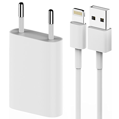 LEONAS® 2in1 Set Lightning Kabel Ladekabel und Netzstecker USB für Apple iPhone 7 6 6S SE iPod iPad in weiß