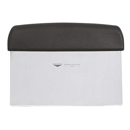 Paderno Raschia da Cucina Rettangolare Multiuso Inox 18/10, Manico in Polipropilene Nero-15 x 7,5 cm, Acciaio Inossidabile, Nero, 15 cm