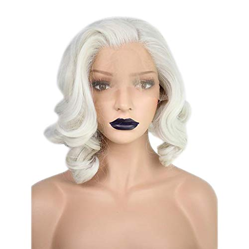 Perücke Wig Lace Front Damen Hair Weiß Curly Langhaar Lockige Locken Cosplay Wavy Human Brazilian Synthetic