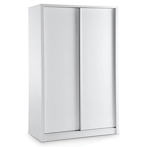LPD Furniture Novello Armoire, 2 Portes coulissantes en Blanc Brillant