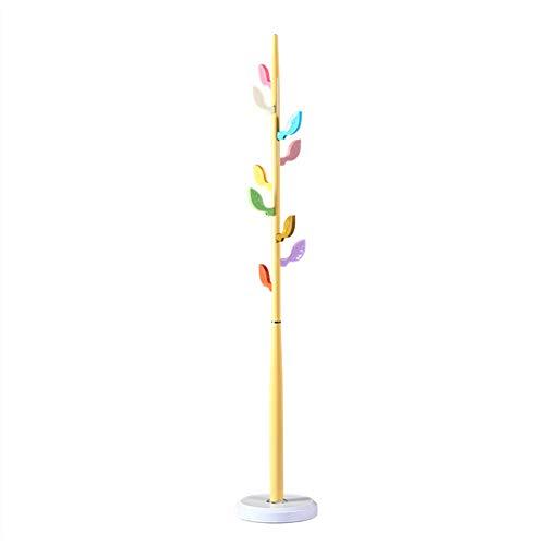 Yimaojia meiduo appendini appendiabiti per bambini, supporto per albero in legno massello per giacca, berretto per borsa a tracolla indipendente (colore : giallo)