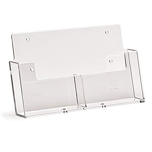 taymar® Prospekthalter mit 2 Fächern im Postkarten-Format/DIN A6 Hochformat Wandprospekthalter