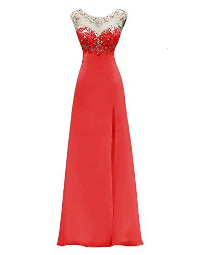 Dresstells, Robe de soirée Robe de cérémonie Robe de gala longue avec paillettes col rond dos nu sans manches Rouge