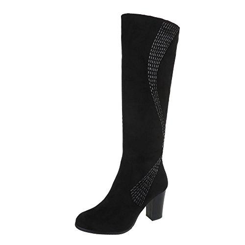 Ital-Design High Heel Stiefel Damen-Schuhe High Heel Stiefel Pump High Heels Reißverschluss Stiefel Schwarz, Gr 41, Ksl009-