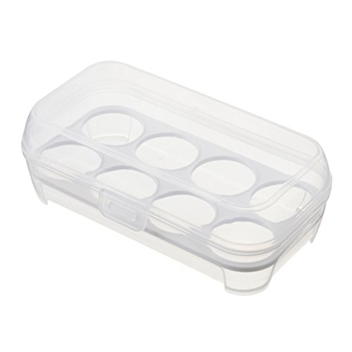 ounona Huevos Caja combi Huevera antigolpes EI recipiente Bandeja Caso portátil huevos Soporte para 8huevos camping picnic (Color Blanco)