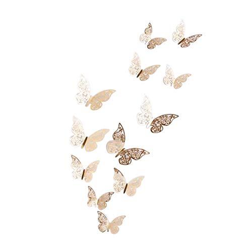 Luotuo 12 Stück 3D Hollow Wandtattoos Schmetterling Kühlschrank für Heimtextilien Neu Creative Wohnzimmer Schlafzimmer Kinderzimmer Wanddekoration Wohnaccessoires -