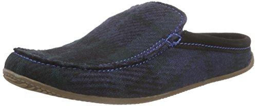 Living Kitzbühelpantoffel Plaid Avec Semelle - Pantofole Basse Uomo Multicolore (903 Vert-bleu)